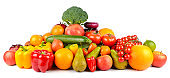 Juicy ripe fruits and vegetables
