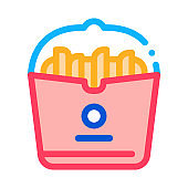 french fries icon vector outline illustration