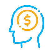 Dollar Coin Money In Man Silhouette Mind Vector
