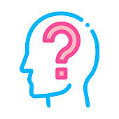 Question Mark In Man Silhouette Mind Vector Icon