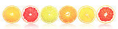 Sliced citrus fruits with light reflection