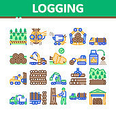 Wood Logging Industry Collection Icons Set Vector