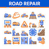 Road Repair And Construction Icons Set Vector