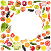 Delicious and healthy vegetables and fruits in form frame