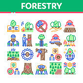 Forestry Lumberjack Collection Icons Set Vector