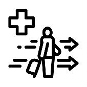 medical assistance to tourist with suitcase icon vector outline illustration