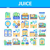 Juice Production Plant Collection Icons Set Vector