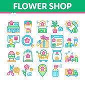 Flower Shop Boutique Collection Icons Set Vector