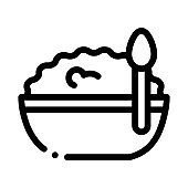 bowl of cottage cheese and spoon icon vector outline illustration