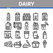 Dairy Drink And Food Collection Icons Set Vector
