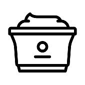 plastic cup of yogurt icon vector outline illustration