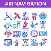 Air Navigation Tool Collection Icons Set Vector
