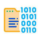 Binary Code Icon Vector Outline Illustration
