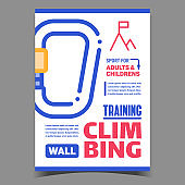 Wall Climbing Training Creative Banner Vector
