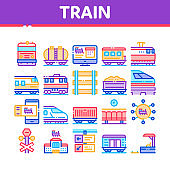 Train Rail Transport Collection Icons Set Vector