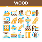 Wood Production Plant Collection Icons Set Vector