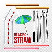 Straw, Brush And Decorative Umbrella Set Vector