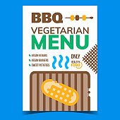 Bbq Vegetarian Menu Advertising Banner Vector