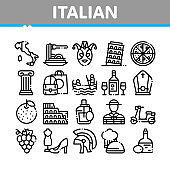 Italian Traditional Collection Icons Set Vector