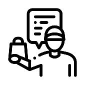 takeaway seller icon vector outline illustration