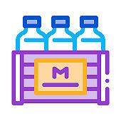 pack of milk bottles icon vector outline illustration