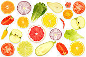 Top view of pattern fresh cut vegetables and fruits