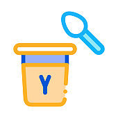 yogurt with spoon icon vector outline illustration