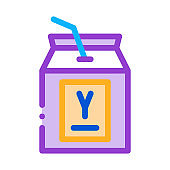 drinking packaged yogurt with straw icon vector outline illustration