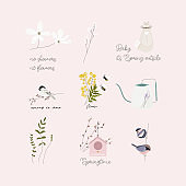 cute spring clip art hand drawn textures