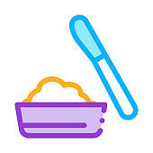 cheese in plate and knife icon vector outline illustration
