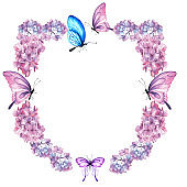 Watercolor summer frame with pink hydrangea and butterflies. Invitation greeting card.