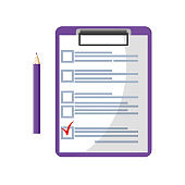 Clipboard with red check mark checklist icon. Elections. List of completed assignments, cases, survey, exam concepts.
