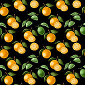Seamless pattern, orange peach with leaves and green lime on a branch on a white background