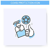 Approved antiseptic line icon