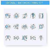 Bioengineering line icons set. Editable