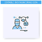 Nanorobot line icon. Editable illustration