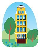 Spring house and tulips as architecture concept in europe and spring in holland, flat vector stock illustration with yellow building
