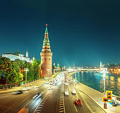 Moscow Kremlin, Embankment and Moscow River, Russia