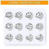 Production industries line icons set. Editable