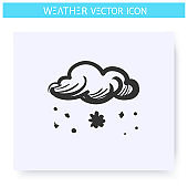 Snow fall icon. Snowy weather