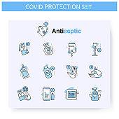 Hand sanitizing line icons set