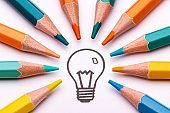 A light bulb surrounded by colour pencils as a symbol of creativity and art