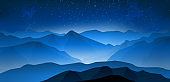 Mountain landsсape with starry sky in the dusk. Panoramic landscape with mountain peaks and fog in the valleys. Sky with stars. Vector illustration