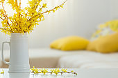 spring yellow flowers in vase on modern interior
