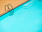 Swimming pool background with ladder minimal style.