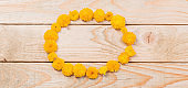 yellow  chrysanthemums on  wooden background
