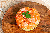 Raw Salmon Tartare, Trout Tartar or Red Fish Tatar