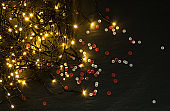 Christmas Light or Garland Lights on Natural Background