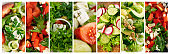 Green Vegetable Salad Collage, Various Salads Collection