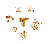 Crushed Almonds Isolated on White Background Closeup